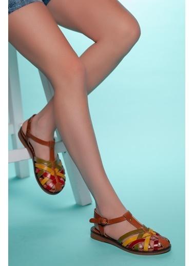 Muggo Hakiki Deri Sandalet Renkli